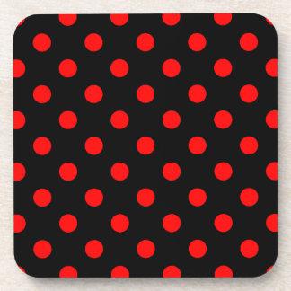 Polka Dots Large - Red on Black Beverage Coasters