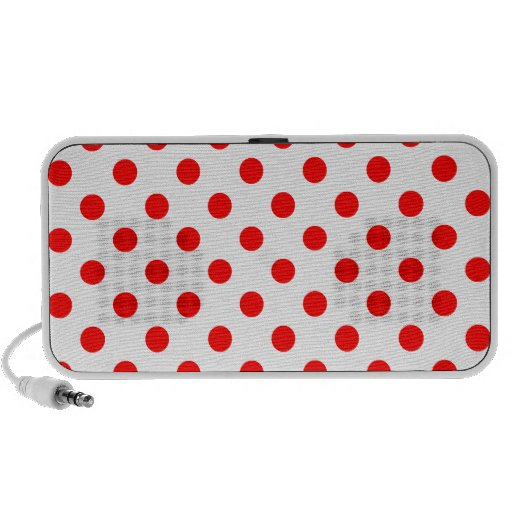 Polka Dots Large - Red on White Portable Speakers