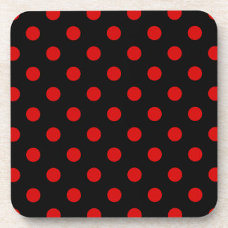 Polka Dots Large - Rosso Corsa on Black Coasters