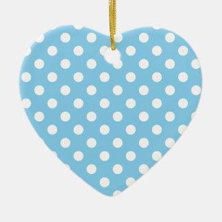Polka Dots Large - White on Baby Blue Ceramic Heart Decoration