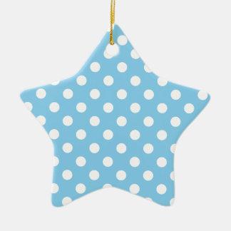 Polka Dots Large - White on Baby Blue Ceramic Star Decoration