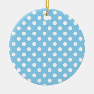 Polka Dots Large - White on Baby Blue Round Ceramic Decoration