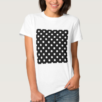 Polka Dots Large - White on Black Shirts