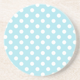 Polka Dots Large - White on Blizzard Blue Coasters