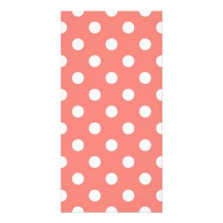 Polka Dots Large - White on Coral Pink Photo Greeting Card