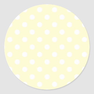 Polka Dots Large - White on Cream Round Sticker