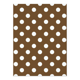 Polka Dots Large - White on Dark Brown 17 Cm X 22 Cm Invitation Card