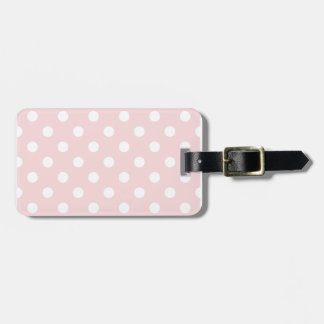 Polka Dots Large - White on Pale Pink Luggage Tag