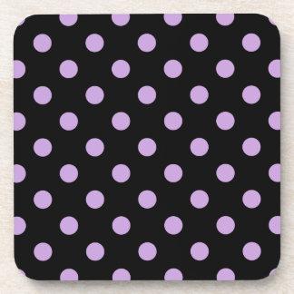 Polka Dots Large - Wisteria on Black Beverage Coaster
