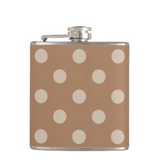 Polka Dots - Light Brown on Brown Flask
