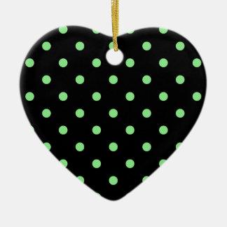 Polka Dots - Light Green on Black Ceramic Heart Decoration