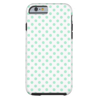 Polka Dots - Magic Mint on White Tough iPhone 6 Case