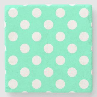 Polka Dots Mint Green Stone Beverage Coaster