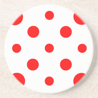 Polka Dots Mixed II - Red on White Beverage Coasters