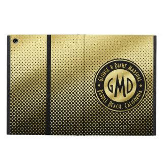 Polka Dots Monogram Gold Glitter Black Modern Cover For iPad Air