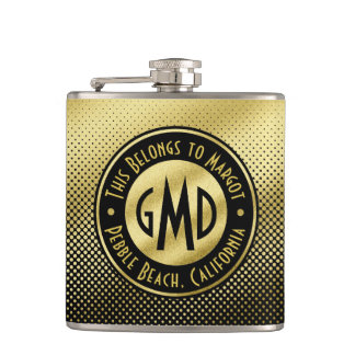 Polka Dots Monogram Gold Glitter Black Modern Hip Flask
