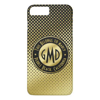 Polka Dots Monogram Gold Glitter Black Modern iPhone 8 Plus/7 Plus Case