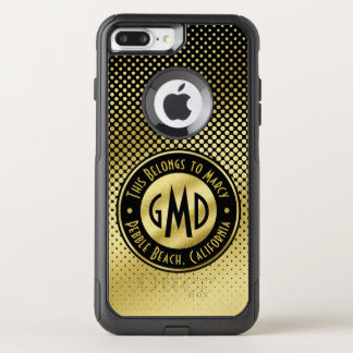Polka Dots Monogram Gold Glitter Black Modern OtterBox Commuter iPhone 7 Plus Case