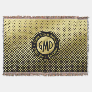Polka Dots Monogram Gold Glitter Black Modern Throw Blanket
