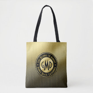 Polka Dots Monogram Gold Glitter Black Modern Tote Bag