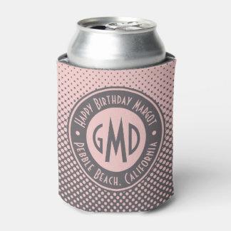 Polka Dots Monogram Millennial Pink Gray Trendy Can Cooler
