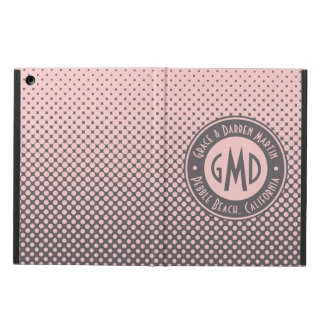 Polka Dots Monogram Millennial Pink Gray Trendy Cover For iPad Air