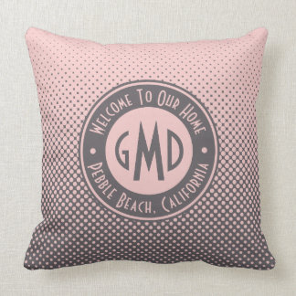 Polka Dots Monogram Millennial Pink Gray Trendy Cushion