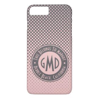 Polka Dots Monogram Millennial Pink Gray Trendy iPhone 8 Plus/7 Plus Case