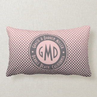 Polka Dots Monogram Millennial Pink Gray Trendy Lumbar Cushion