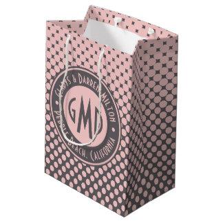 Polka Dots Monogram Millennial Pink Gray Trendy Medium Gift Bag