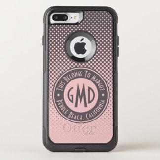 Polka Dots Monogram Millennial Pink Gray Trendy OtterBox Commuter iPhone 8 Plus/7 Plus Case