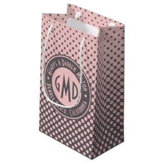 Polka Dots Monogram Millennial Pink Gray Trendy Small Gift Bag
