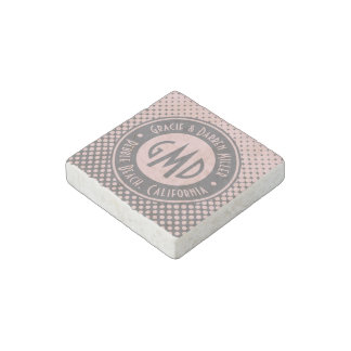 Polka Dots Monogram Millennial Pink Gray Trendy Stone Magnet