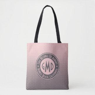 Polka Dots Monogram Millennial Pink Gray Trendy Tote Bag