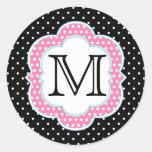 Polka Dots Monogram Pink Blue Black Round Sticker