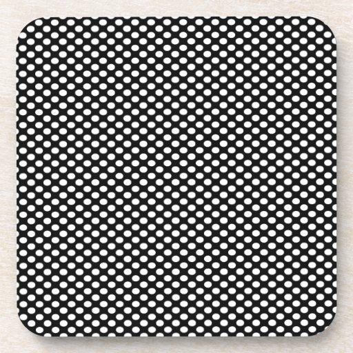 Polka Dots on Black Beverage Coaster