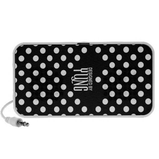 Polka Dots on Black with A Heart Phone Case Travelling Speaker