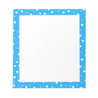 Polka Dots on Blue Background Notepad