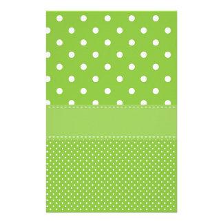 polka-dots on green stationery
