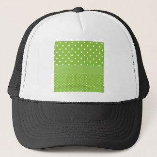 polka-dots on green trucker hat