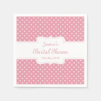Polka Dots on Pink Paper Napkin