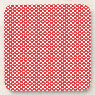 Polka Dots on Red Drink Coaster