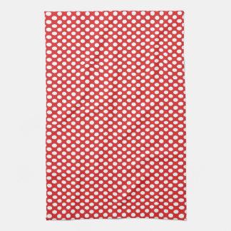 Polka Dots on Red Tea Towel