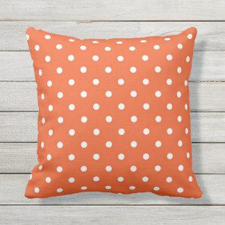Polka Dots Orange White Retro Spots Small Pillow