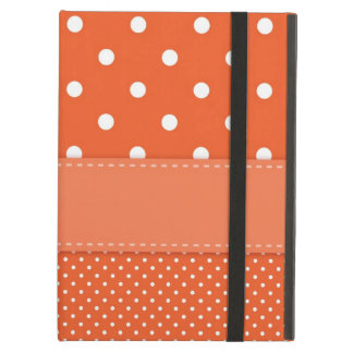 Polka dots orange, white summery retro ipad case