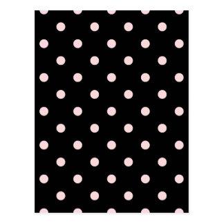 Polka Dots - Pale Pink on Black Postcard