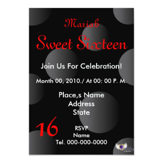 "Polka Dots Paradise Sweet Sixteen- Customize 5"" X 7"" Invitation Card"
