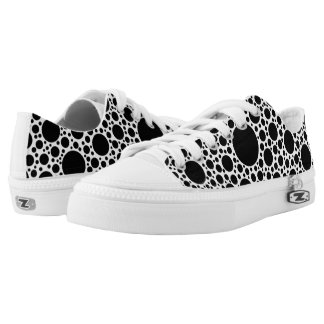 Polka Dots pattern black + your backgr. & ideas Printed Shoes
