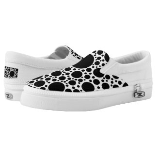 Polka Dots pattern black + your backgr. & ideas Slip-On Shoes