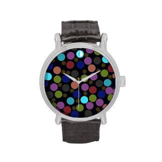 polka dots pattern hour wrist watch